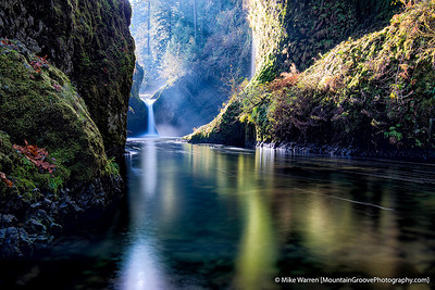#7 - I call this image Middle Earth.  We were in the Columbia River Gorge trying to find fall colors.  Punchbowl falls had none, but a long exposure with the sun rays turned out nicely.  Tripod, f/11, 30.0, ISO50, CPL, 6 stop ND