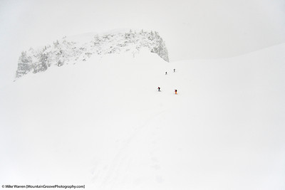 #16 - Ants in white.  Mt Baker backcountry, during a poor visibility ski tour.  Handheld, f/4.0, 1/8000, ISO400, -2/3EV
