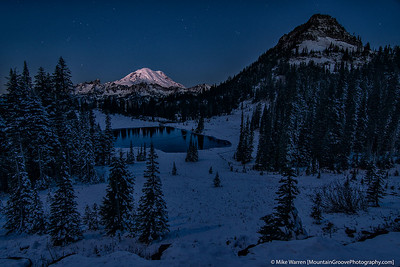 #28 - First rays on Mt Rainier above Tipsoo Lake, in November.
