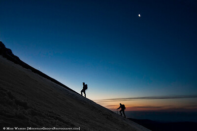 #19 - Climbers and a crescent moon high on Mt. Hood in June.