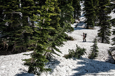 Our traverse takes us above Sheep Lake, to Sourdough Gap