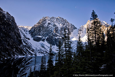 Setting moon over Colchuck Peak