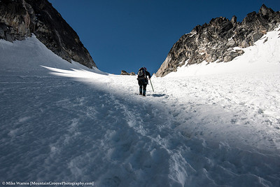 Lone climber, headed to the Colchuck Col