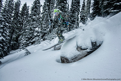 Mikhail skiing the log in his camo