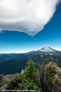 #23 - September, Mt Rainier and Lenticular cloud, from summit of Yakima Peak