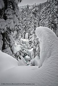 A snowy alpental valley, full of fuffy powder!