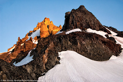 Morning alpenglow on the upper reaches of Little Tahoma