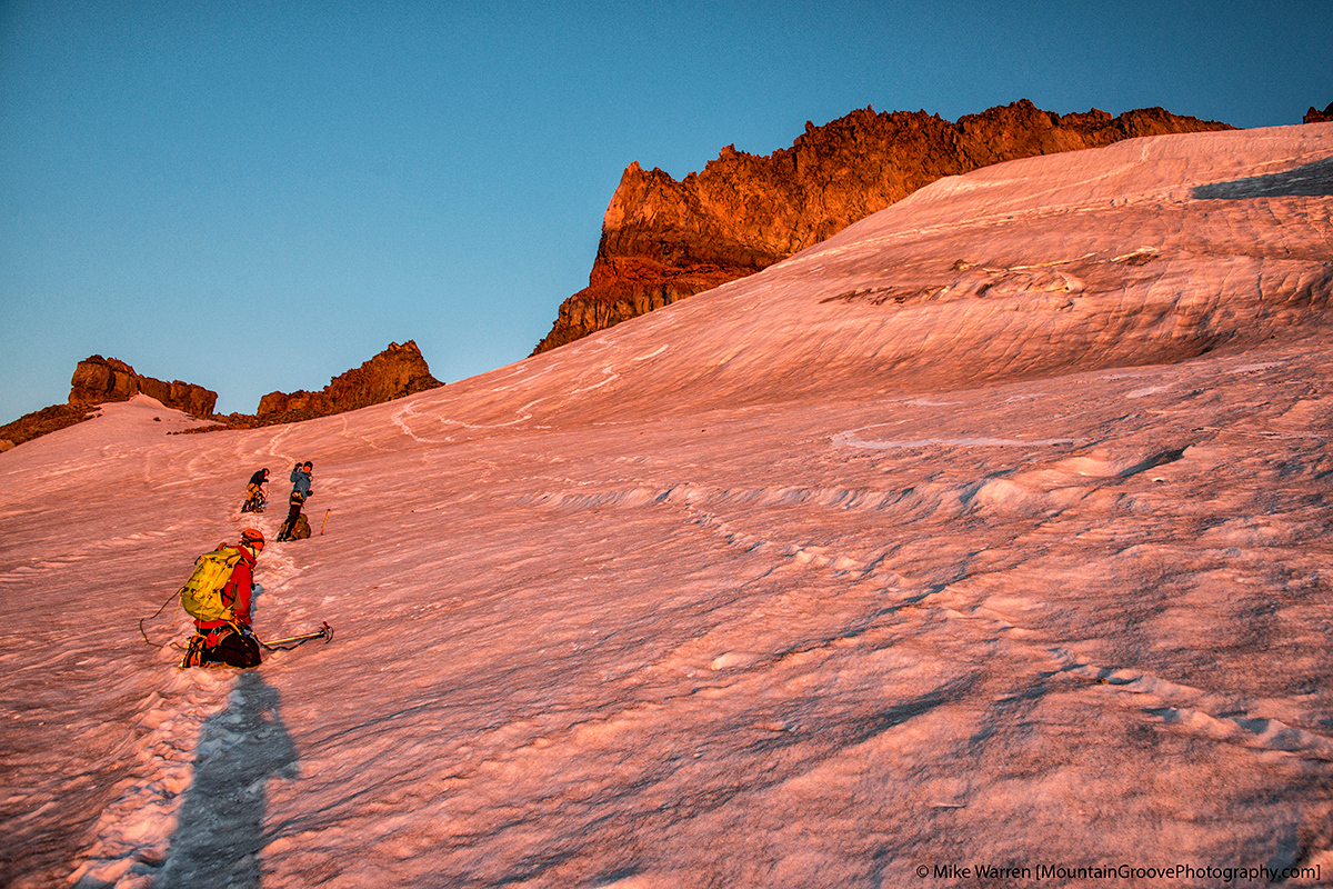 Climbing in the alpenglow!
