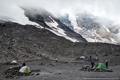 Basecamp, in the shadow of the Klickitat and Mazama glaciers
