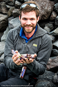 Mike brought 29 Snickers bars for the climb!  I think they weighed more than his tent!