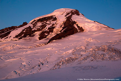 Alpenglow, right at sunset.   Taken sitting up in my bivy sack!