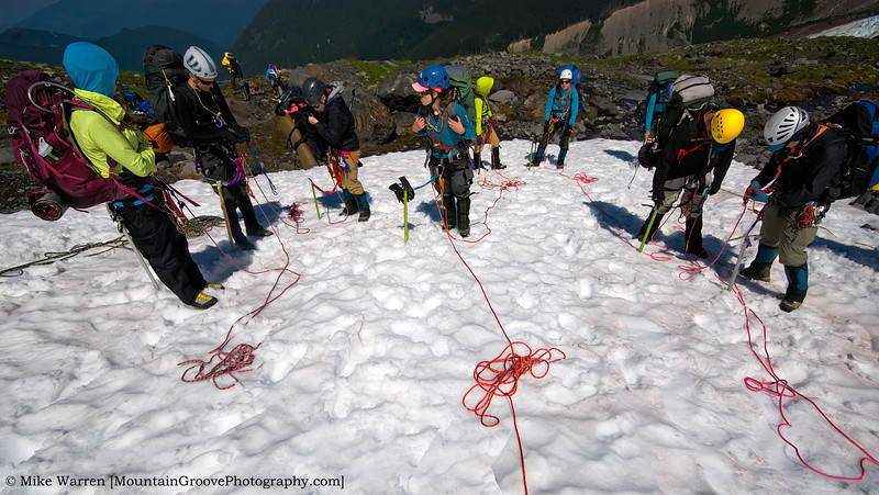 We roped up the first day for about 800' of glacier travel.  This left about 4,000' vertical on summit day.