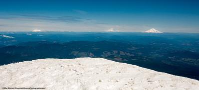 On the summit, St. Helens, Rainier and Adams (L-R)