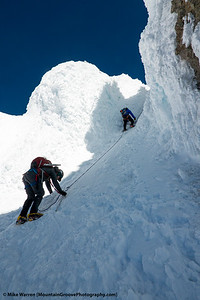 The start of the Pearly Gates, the rhine ice coated couloir to the summit.