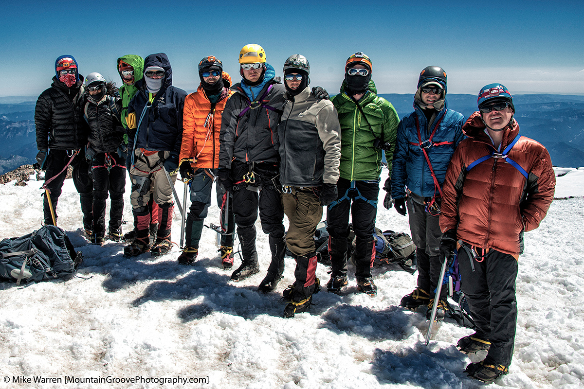Summit shot, a group of very strong climbers
