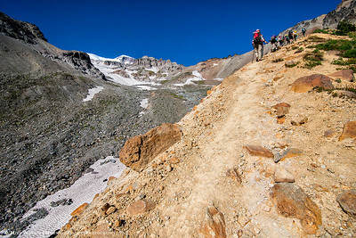 Climbing the lateral moraines below the Interglacier