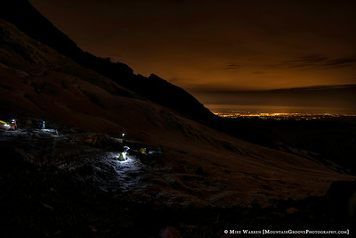 2am on summit day, the lights of Tacoma in the distance.