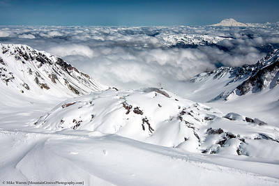 Steaming crater dome.  In a 100,000 years, Mt St Helens will have retained its original height, perhaps to erupt again!