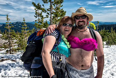 Two Mazamas, honoring their Mother by dressing up on a Mother's Day climb of MSH.  This was actually the day prior to Mother's Day, but no one cared!!
