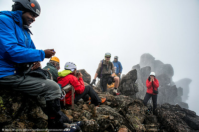 Our summiting group!  Check out the views . . . NOT!!!!