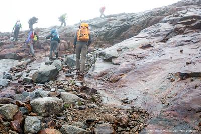 Climbing glacier polished slabs