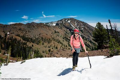 Annie in front of Earl Peak