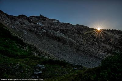 Sun setting on the summit