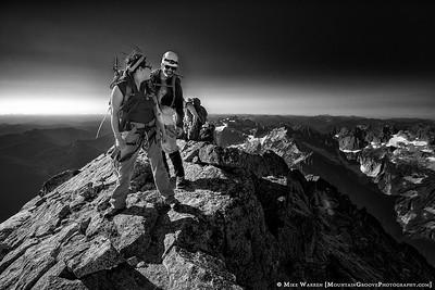 Summit ridge, Rena leading the way