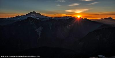 Sunrise, at last.  Glacier Pk on the left