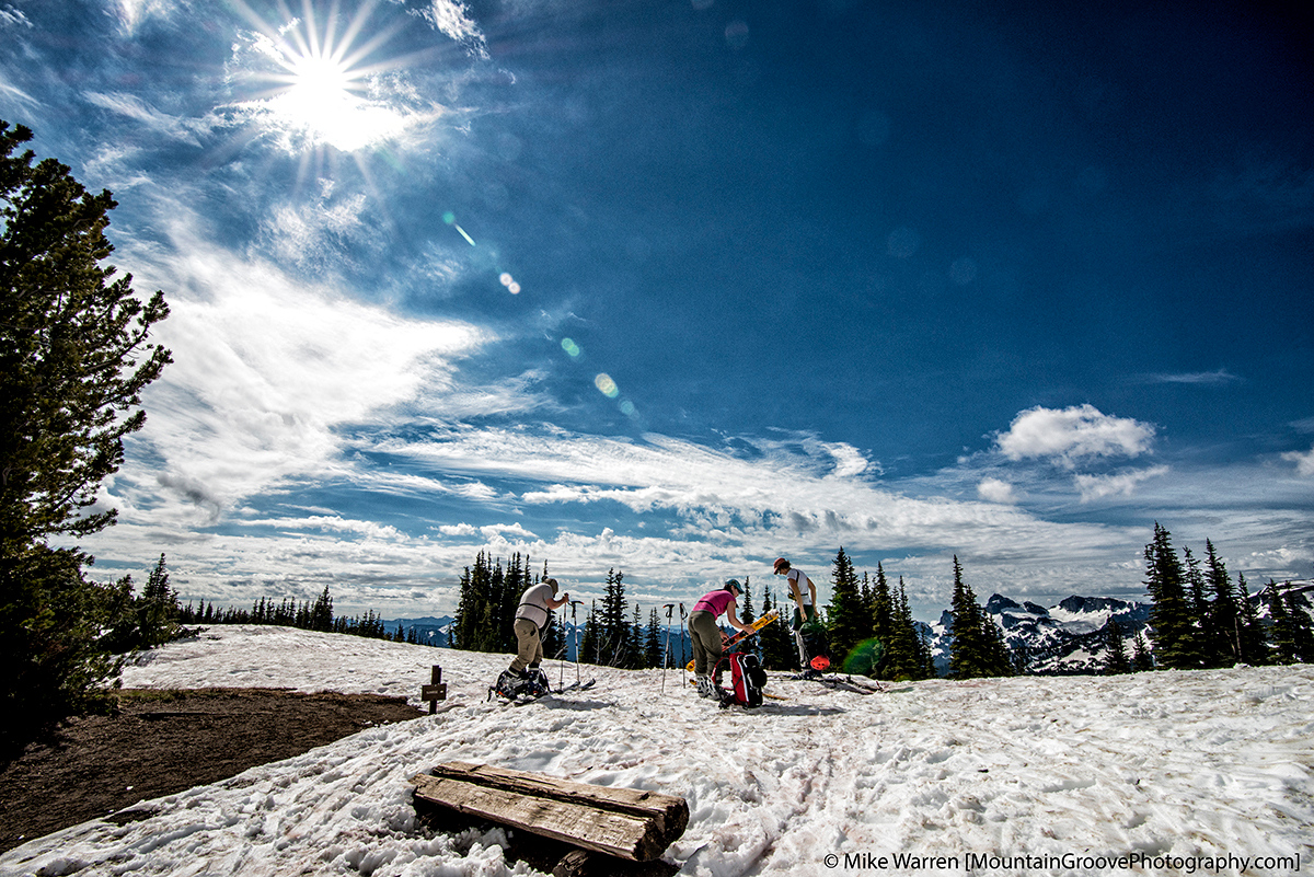 The transition to ski mode, under a bright sun