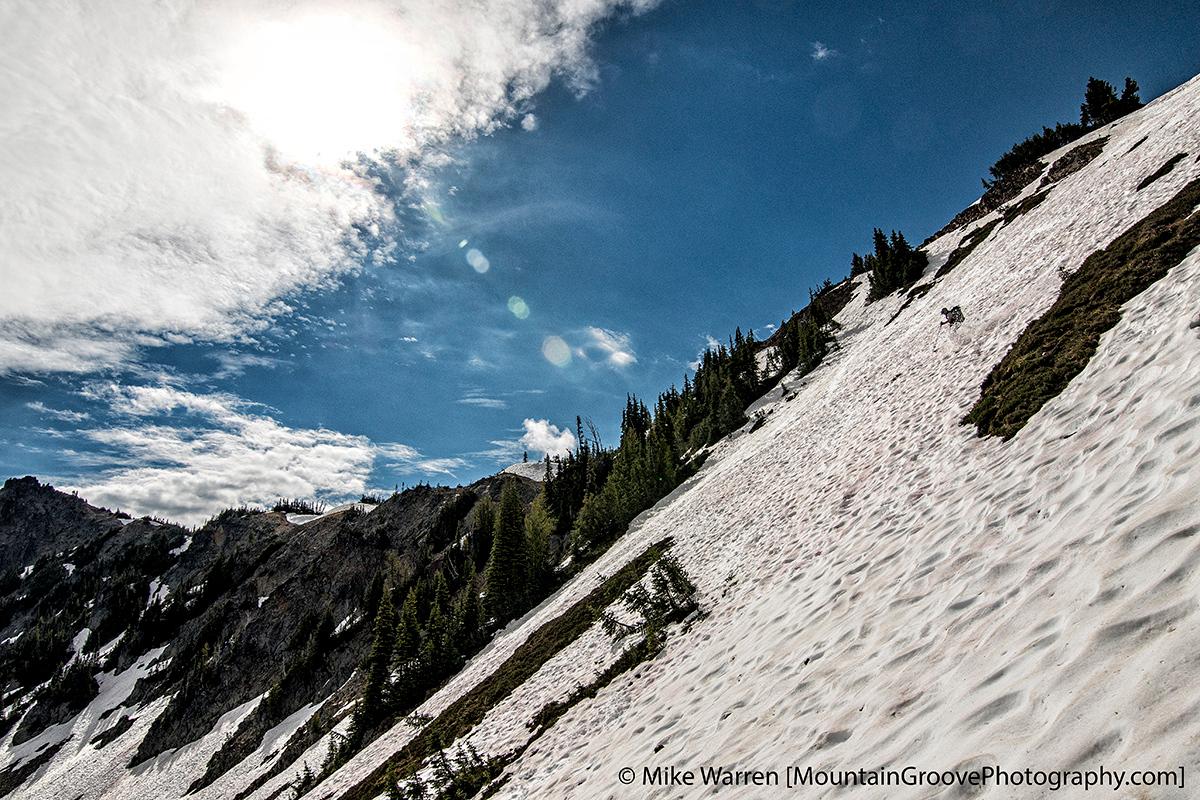 Jonathan skiing the backside of Sourdough Ridge