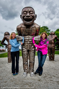 The gals had fun with the statutes near Stanley Park!