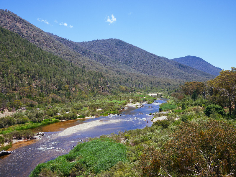 View upstream from McKillops Bridge, Snowy River, Victoria. (Not sure where the swimmers came from? Only just noticed them in the photograph!)