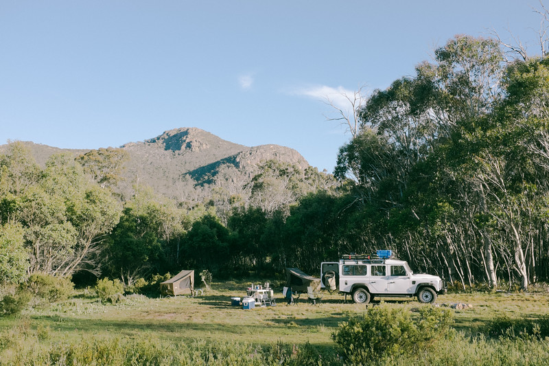 Camp in the high country after passing the Cobberas Track. Frost this morning.
