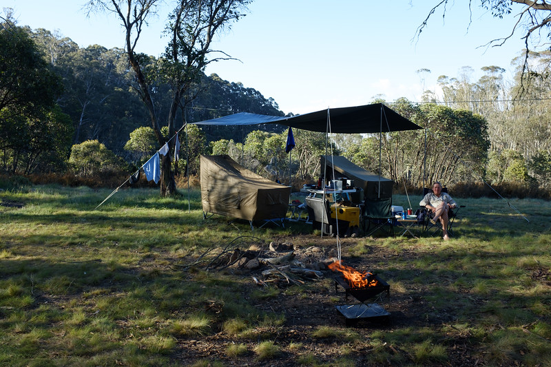 Chilling out in camp with wine and cheese.