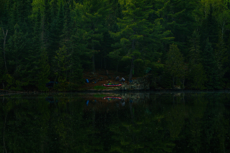 This is what a campsite looks like from the water. Just an opening in the woods