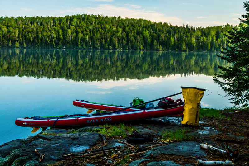 Paddled across Caribou Lake, portaged to Little Caribou hoping that site was open. Noticed the campsite was taken. So I portaged back and paddled back to the group. Thankfully, Matt grabbed the first site on Caribou so we had something. Time to setup camp 1!