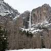 Yosemite Falls, trail to base of falls closed due to frazil ice overflowing the bridge