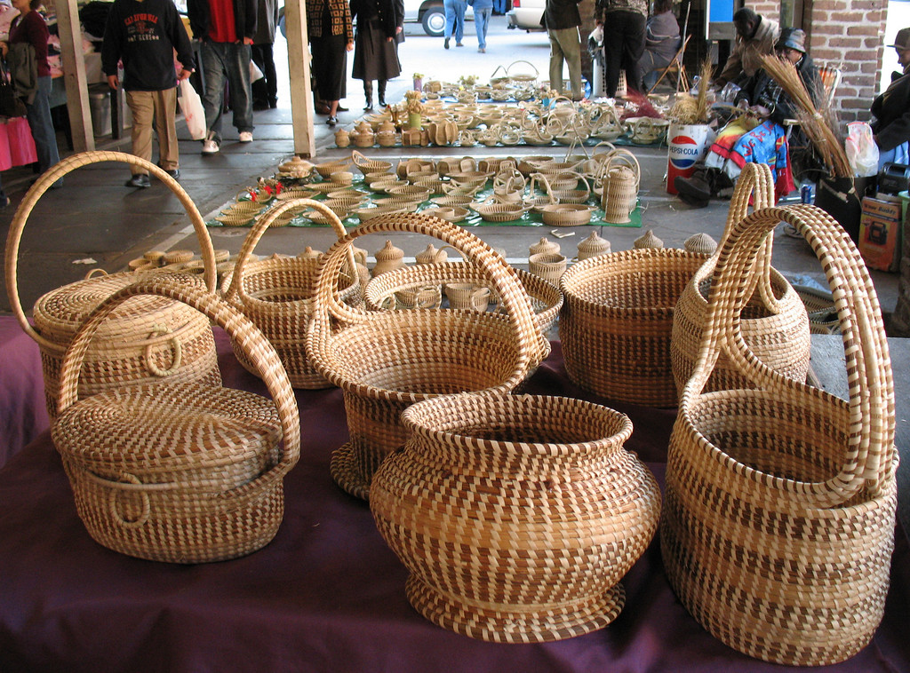 Sweetgrass baskets in the marketplace<br /> Charleston, SC - November 23, 3006