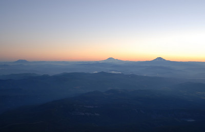 On the far left is Mt. St.Helens, Then in the middle is Mt. Rainer & on the right is Mt. Adams