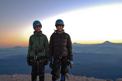 Samantha & Spencer's first summit on Mt. Hood. July 2006 on the far left in the background is Mt. St.Helens, Then in the middle is Mt. Rainer & on the far right is Mt. Adams