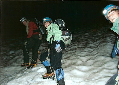 """Just above the """"hogsback"""" roped up and ahead of schedule."""
