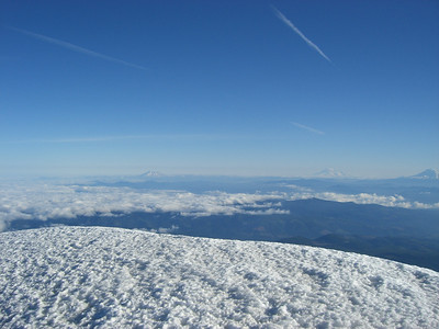 From the summit. left to right, Mt St. Helens, Mt Rainer & Mt. Adams.
