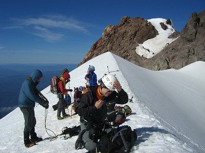 """Back on the """"Hogsback"""" getting ready to decend down to Silcox Hut."""