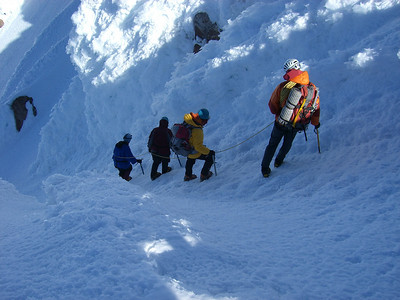 """Another climbing party starting down the """"Old Shute"""""""