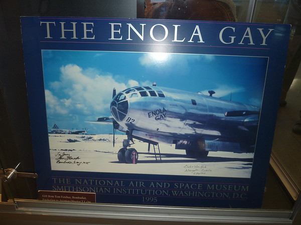 "The Enola Gay is the B-29 Superfortress bomber that dropped the first atomic bomb, code-named ""Little Boy"", to be used in war, by the United States Army Air Forces (USAAF) in the attack on Hiroshima, Japan on August 6, 1945, just before the end of World War II. The B-29 was named after Enola Gay Tibbets, the mother of the pilot, Paul Tibbets.[1]  The Enola Gay was accompanied by two other B-29s, Necessary Evil which was used as a camera plane to photograph the explosion and effects of the bomb and carry scientific observers, and The Great Artiste which was the blast measurement instrumentation aircraft."