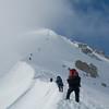 The team climbs Karsten's Ridge into the fog