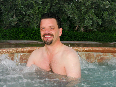 Steven in the hot tub