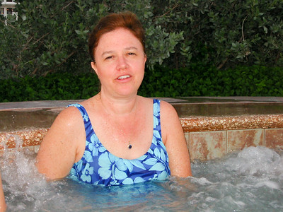 Joni in the hot tub