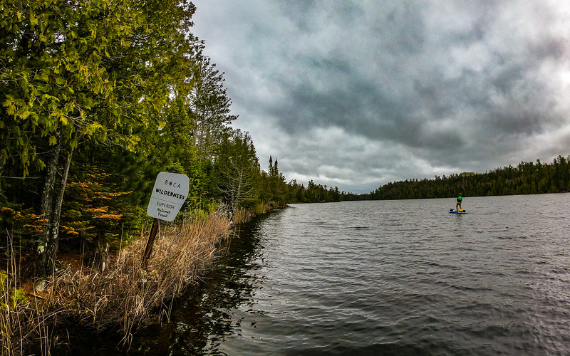 3/4 of East Bearskin Lake is private land. Then you come to this sign when the motor boats stop and the backcountry begins.